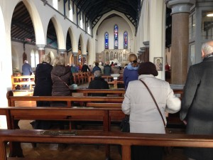 Parishioners attending 10 am mass at St. Theresa's Church, Donore Avenue Photo: Danielle Stephens