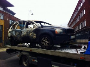 Remains of the Volvo involved in Long Lane explosion (Photo: Ryan Nugent)