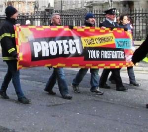SIPTU firefighters protest. Credit: Emma Mulholland