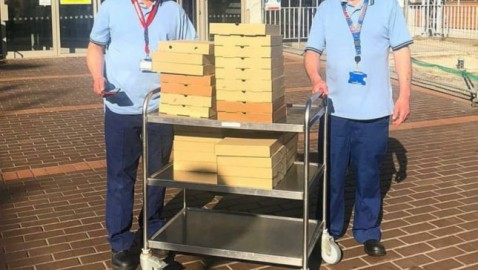 A pizza good news for hospital workers, with local help