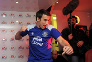Everton's Seamus Coleman celebrates scoring in his FIFA 12 Pro Footballers' Tournament game against Louis Saha