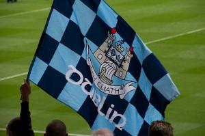 Dublin GAA fan waves flag