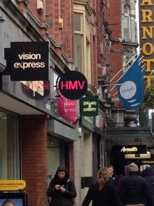 HMV on Henry Street surrounded by customers
