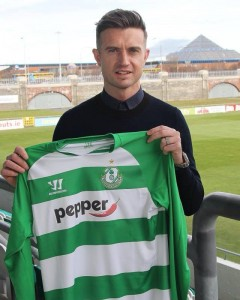 McPhail holds aloft his new Shamrock Rovers jersey at Tallaght Stadium (Photo courtesy of Stephen McPhail)