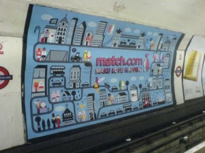 Advertisement for match.com in Leicester Square Tube station, London. Photo: bixentro via Flickr cc.