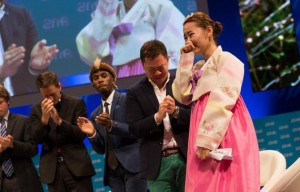 An emotional Yeonmi Park speaks at the One Young World Summit in Dublin