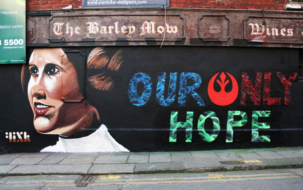 A mural of the late Carrie Fisher appeared overnight in Francis Street on the side wall of the Old Barley Mow pub.