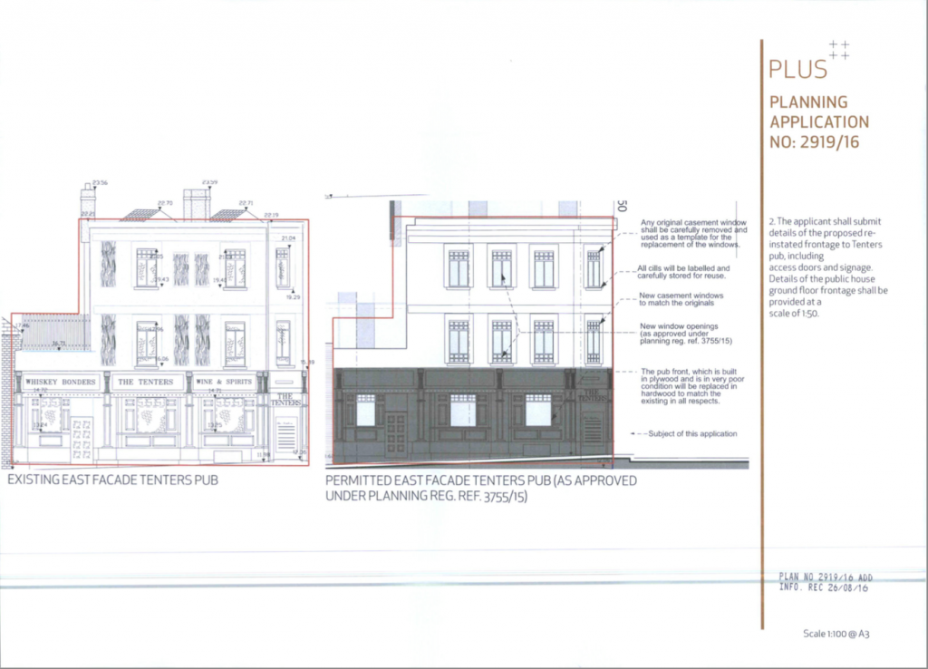 Plans for Tenters pub Facade.